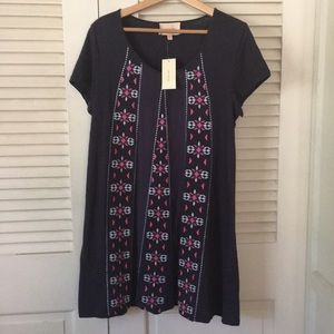 Skies Are Blue navy embroidered dress-small-NWT